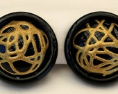 Vintage 1980s Italian Jet Black Glittery Gold Button Earrings Made in Italy