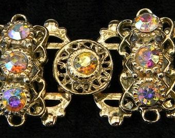 Vintage Victorian Revival Crystal Aurora Borealis Rhinestone Bookchain Link Bracelet