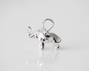 Sterling Silver Elephant Charm - 925 silver, family loving animal pendant