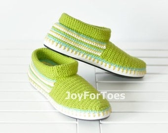 Crochet Shoes Green Slippers for the street  Outdoor Shoes Boots Made to Order