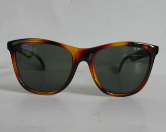 Vintage Banded Crystal Amber & Coffee Brown D-Frame Sunglasses