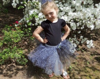 Pageant Boutique custom made toddler girls 2pc black silver zebra print Tutu set with matching hairbow size 2T 3T 4T