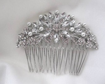 Bridal Wedding Rhinestone and Pearls Hair Comb