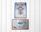 Beach Hut & Seagull Small wall Hanging/quilt pattern