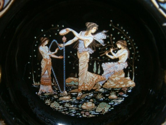 Vintage Ashtray handmade Greek Mythology Sirens Painting 24