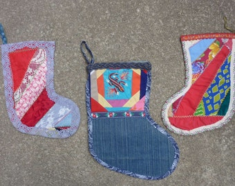 Vintage Hmong Textile Christmas Stocking Hmong Wall Hanging Xmas Decoration Folk Art Design Colorful Patchwork Fabric Asian Set of 3 1980s