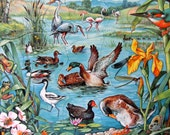 Classic 1992 Ravensburger Puzzle, 34 Pieces with Waterfowl, Ducks, Frogs, Butterflies Wetlands Scene Educational Frame Tray Toy
