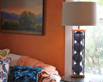 Blue table lamp. Modern lighting,  wood lamp, bedside lamp, ceramic lamp, desk lamp, modern ceramic lamp. Handmade lighting, metal lamp.