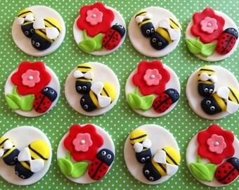 12 Fondant edible cupcake/cookie toppers, fondant ladybug, fondant bumble bee, fondant flower, cupcake toppers, edible ladybug, ladybird