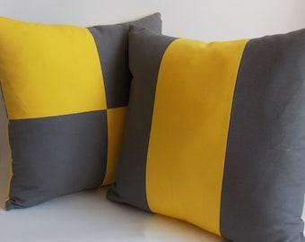 SET 2/Decorative pillow Yellow Gray Throw pillow Pillow cover 18'' x 18'' (45 cm x 45 cm) Cotton Canvas Blend