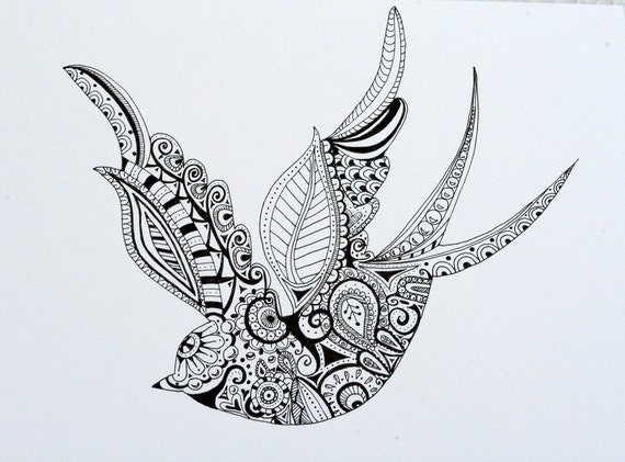 items similar to hand drawn henna style swallow on etsy. Black Bedroom Furniture Sets. Home Design Ideas