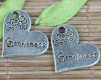 16pcs tibetan silver color heart shaped Gentleness charms EF0348