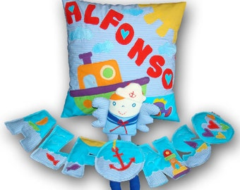 Seilor Pillow & Wall banner - Kids Personalized Pillow Case Cushion / Kids Pillow Case Soft Fabric Letters and Cotton Toy