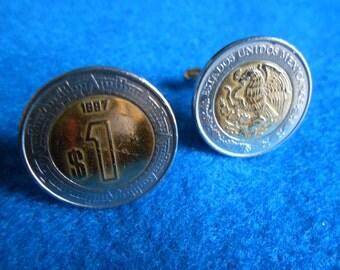 Mexican 1 Nuevo Peso Bi-Metal Cufflinks
