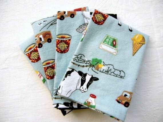 4 Soft Flannel Burp Cloths For Baby Boy or Girl: Dairy Farm Theme