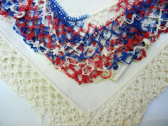 Vintage Linen Handkerchiefs (Hankies) with Lover's Knot Crocheted Trim, One White, One Patriotic