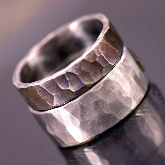Steel Wedding Ring, Custom Mens ring, Womens ring,Unique band - Hand ...