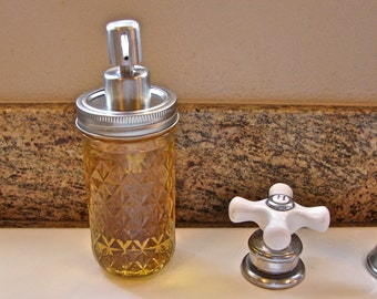12 Ounce Quilted Mason Jar With Hand Made Brushed Stainless Steel Pump  LId For Soap or Lotion