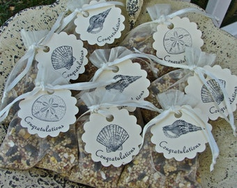 Beach Wedding Birdseed  Favors In Ivory Organza Bags With Tags - 50 Pieces