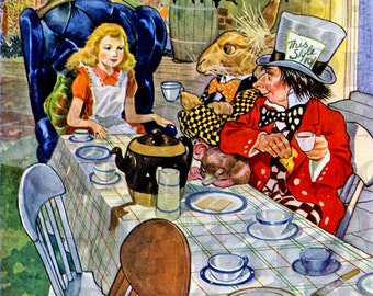 The MAd HaTTER. TEa PaRtY. Alice in Wonderland. Vintage Illustration. Alice in WONDERLAND Vintage DIGITAL Print Download