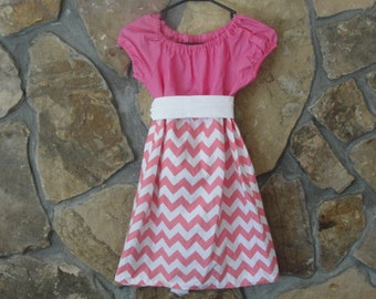 Pink and White Chevron Peasant Dress- Perfect for Spring