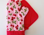 Pink Cherry and Red Pin Dot Oven Mitt Pot Holder Set