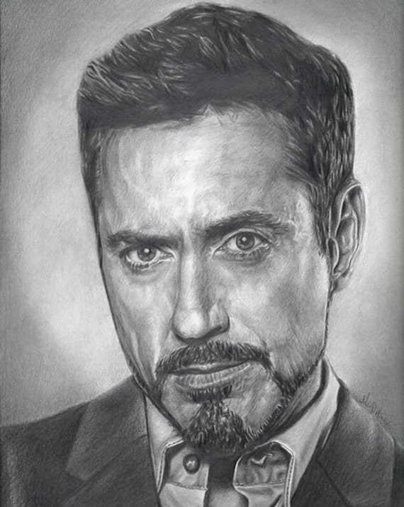 Robert Downey jr Iron Man Drawing Drawing Print of Robert Downey