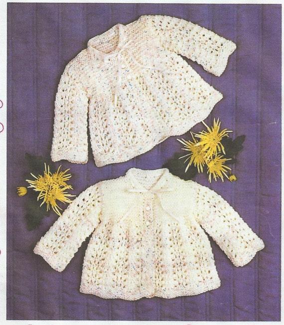Knitting Pattern Baby Matinee Jacket : baby knitting pattern for vintage matinee jacket dk wool