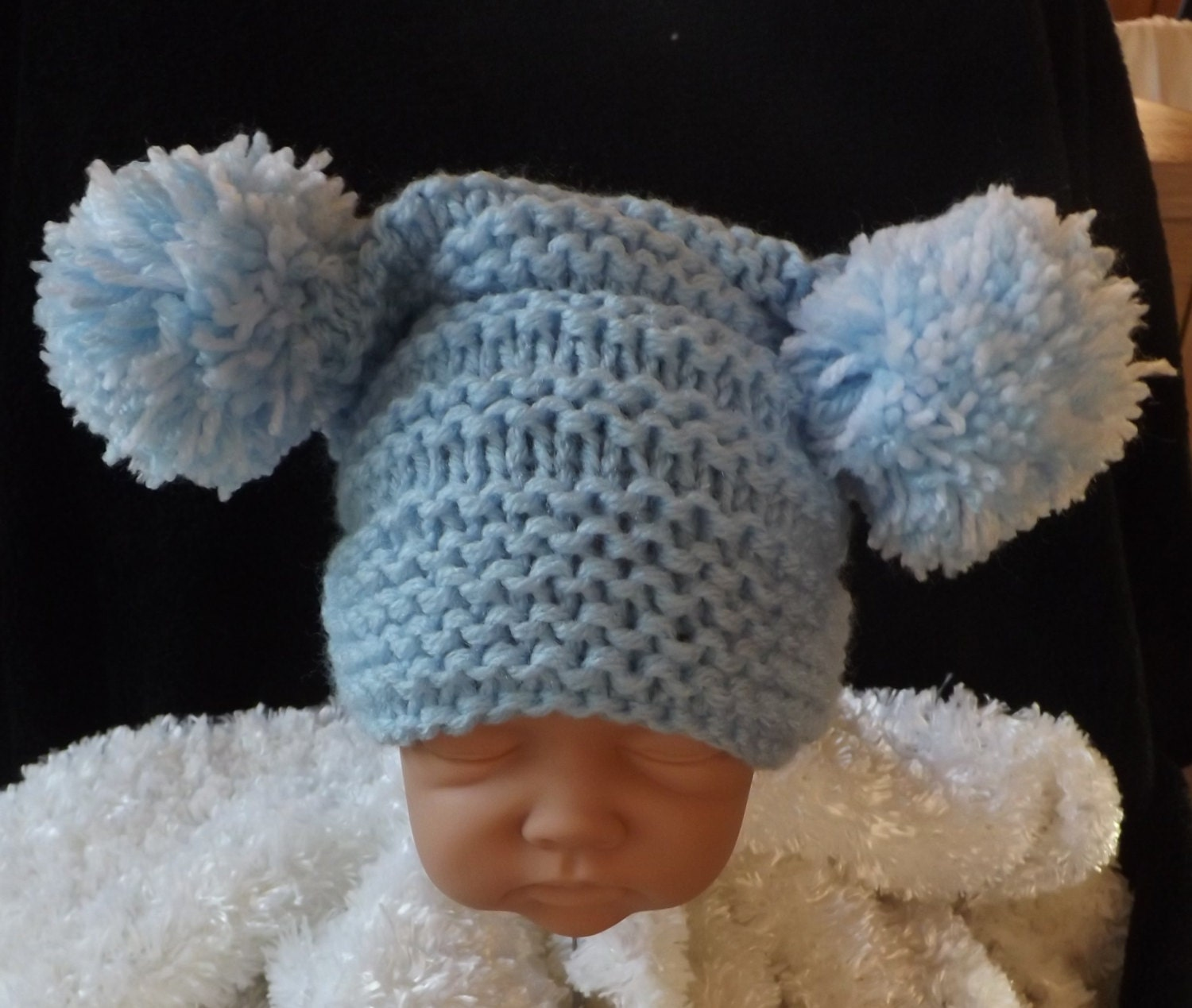 Knitted Daisy Flower Pattern : knitting pattern for baby pom pom hat easy knit size newborn