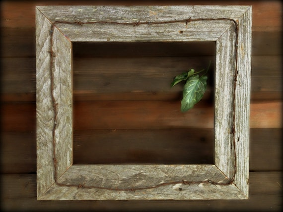 Rustic Barn Wood Picture Frame Amp Vintage Ranch Barbed Wire