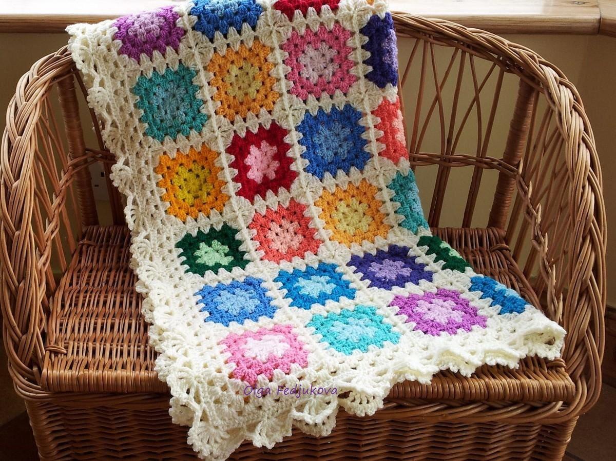 Colourful Crochet Granny Square Baby Blanket