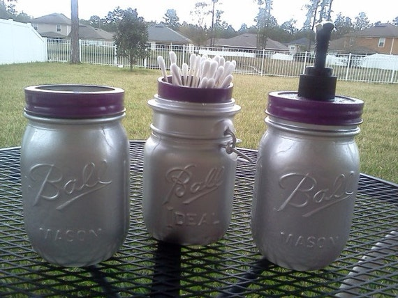 Items similar to Ball Mason Jar Bathroom Set   SILVER AND PURPLE   Soap   Cotton  Ball Q tip   toothbrush holder on Etsy. Items similar to Ball Mason Jar Bathroom Set   SILVER AND PURPLE