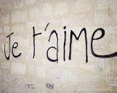 Je t'aime Paris 8x10 Graffiti Photo, Brick Wall, French Urban Art - I Love You in French, Romantic, Language, City, Gift, Wedding Gift - gypsyfables