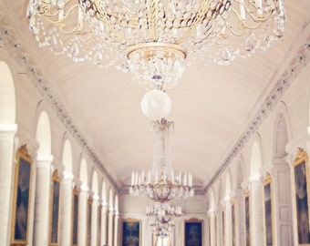 Versailles Chandelier Photo Print, Paris France, Marie Antoinette Palace, Gold, Hallway, Dreamy Light, Historical Decor