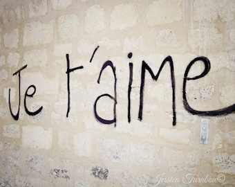 Je t'aime Paris Graffiti Photo, Brick Wall, French Urban Art - I Love You in French, Romantic, Language, City, Gift, Wedding Gift