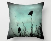 On Top of the World - Throw Pillow, Home Decor, Birds, blue, silhouette, trees, nature, custom fine art photography