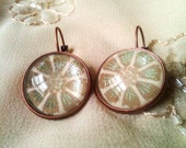 Glitter Daisy Designed Glass Dome Distressed Copper Latch Hook Earrings