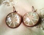 Glitter Daisy Designed Glass Dome Distressed Copper Latch Hook Earrings