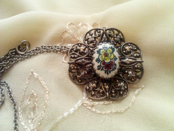 Vintage Colored Delft Brooch/Necklace