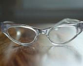 Vintage Harlequin Style Clear Cat Eyeglasses NOS