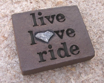 """Love Rocks """"live love ride"""" Plaque w/ Natural Found Heart Shaped Rock - Word Stone Wall Art - Horse Rider Motorcycle Biker live to ride"""