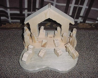 Unfinished Wood Nativity Set ( Christmas Sale)