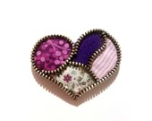 Colourful heart. Pink and purple colours zipper and felt brooch. Sweet and boho gift.