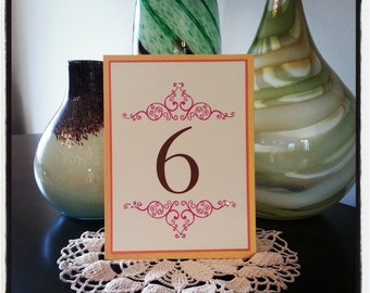 Orange and Gold Wedding table Number with Pink Flourish
