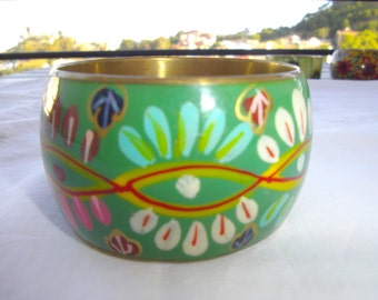 Hand painted and glazed metal BRACELET