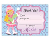 Ice Skating Thank You Card - Blue, Lavender, Purple, Little Ice Skate Girl Personalized Birthday Party Thank You - a Digital Printable File