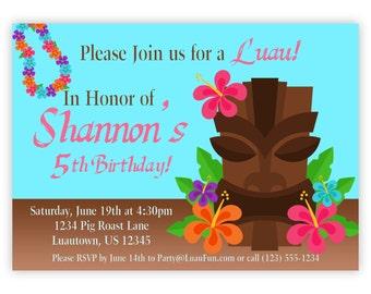 Luau Invitation - Turquoise Blue, Pink, Orange Hawaiian Flower and Tiki Luau Personalized Birthday Party Invite - a Digital Printable File