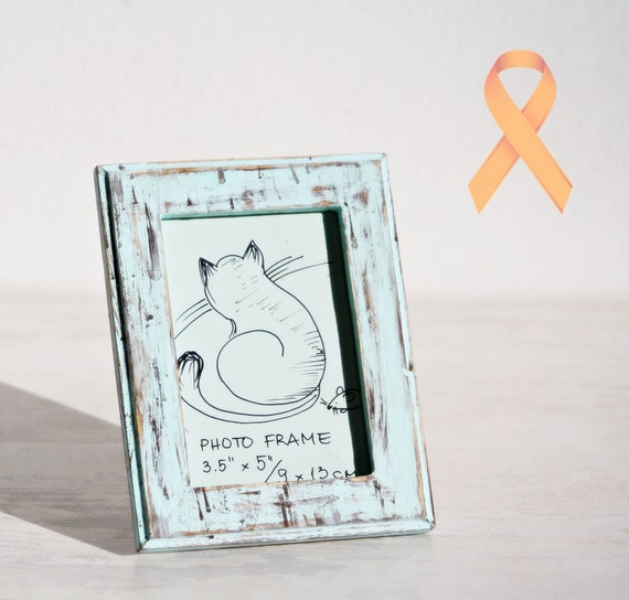 This listing is for to donate its profit to a cause called HELP ANI  Wooden Photo Frame Mint Rustic country home decor vintage look