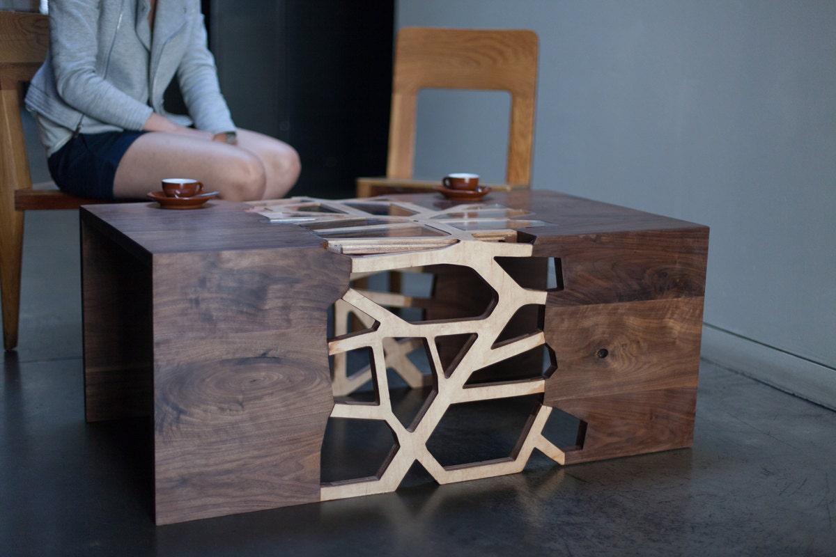 geometrical branching coffee table walnut u0026 premium maple