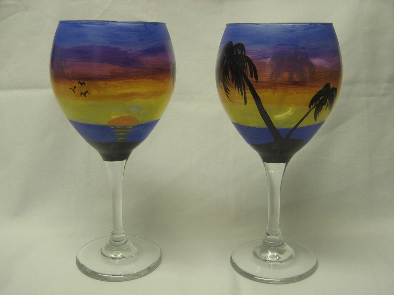 Wine drinking glasses stemware original hand painted for Hand painted drinking glasses
